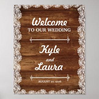 Poster rústico do casamento do laço e da madeira pôster