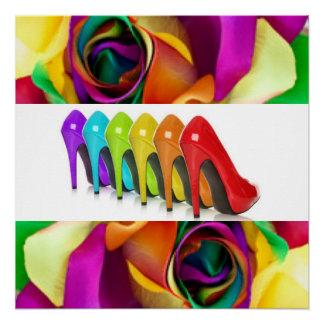 Póster Saltos altos coloridos do rosa do arco-íris