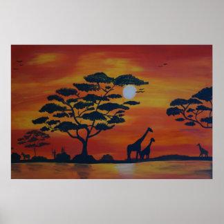 Poster Savanna em sunset