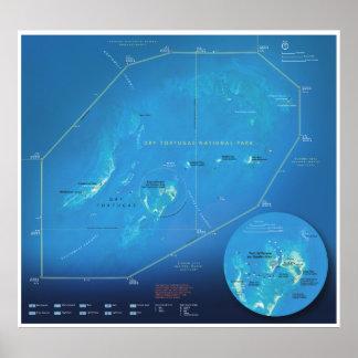 Poster seco do mapa de Tortugas
