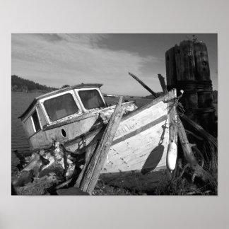 Póster Shipwreck abandonado preto e branco