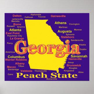 Póster Silhueta colorida do mapa do orgulho do estado de