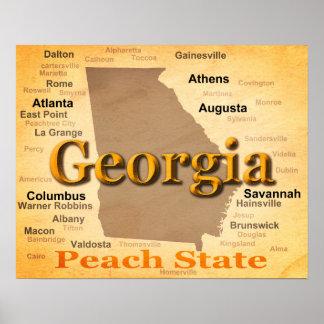 Poster Silhueta envelhecida do mapa do orgulho do estado
