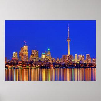 Poster Skyline do centro de Toronto na noite