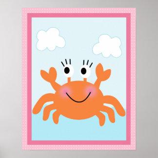 Poster Sob o mar/menina/Crab/poster cor-de-rosa da arte