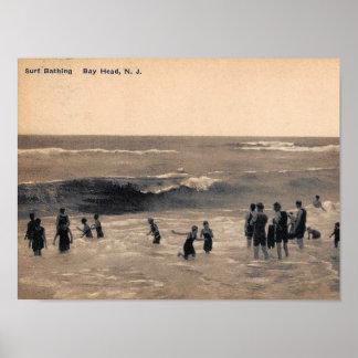 Poster Surf que banha-se, cabeça de baía NJ, vintage