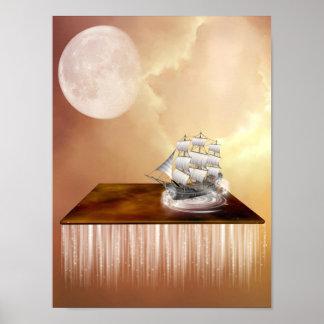 Poster surreal do navio do céu