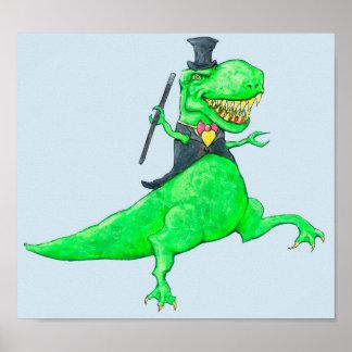Póster T-Rex no chapéu alto e nas caudas