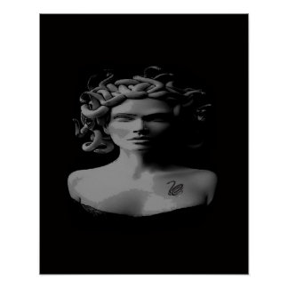 poster tattooed preto e branco do medusa