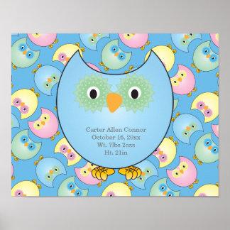 Póster Tema Pastel do berçário da coruja do bebê no azul