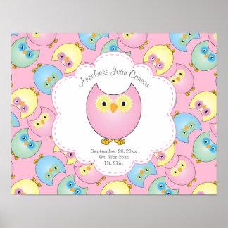 Poster Tema Pastel do berçário da coruja do bebê no rosa