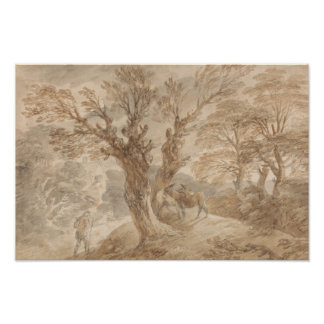 Póster Thomas Gainsborough - paisagem arborizada com