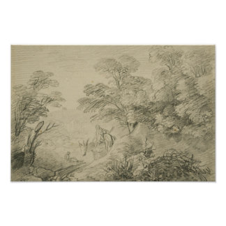 Póster Thomas Gainsborough - paisagem arborizada com asno