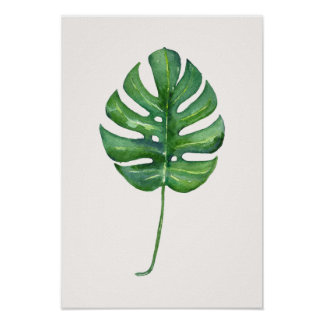 Poster tropical da aguarela da folha (Monstera)