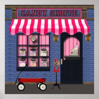 Poster velho da loja dos doces da forma