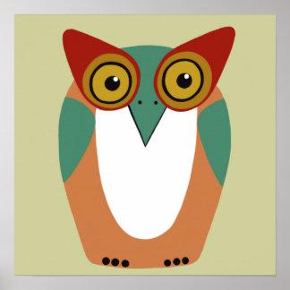 Poster velho sábio da arte da coruja pôster