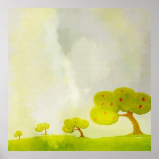 poster verde decorativo das árvores