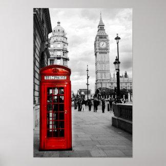 Poster vermelho da paisagem de Big Ben Londres do