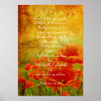 Poster vermelho das papoilas do salmo 91 pôster