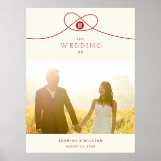 Poster vermelho do casamento da foto da felicidade pôster