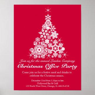 Poster vermelho do escritório da árvore da festa n