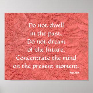 Poster vermelho presente e futuro do passado de