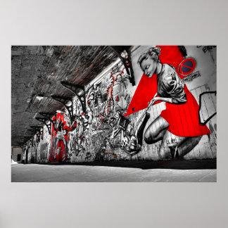 Poster vermelho, preto e branco dos grafites da
