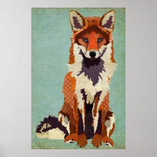 Poster vermelho & violeta da arte do Fox