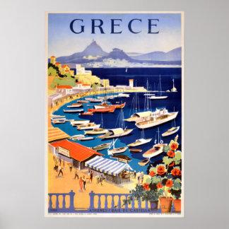 Poster Viagem da piscina de Atenas do vintage