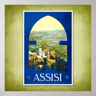Poster vintage Assisi Italia do viagem