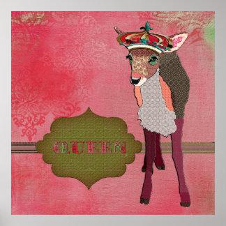 Poster vintage cor-de-rosa bonito da jovem corça