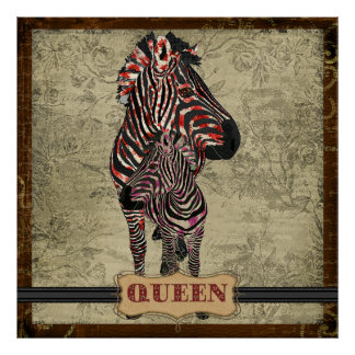 Poster vintage cor-de-rosa das zebras da rainha
