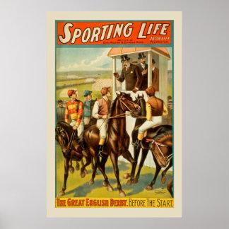 Poster vintage da corrida de cavalos do esporte