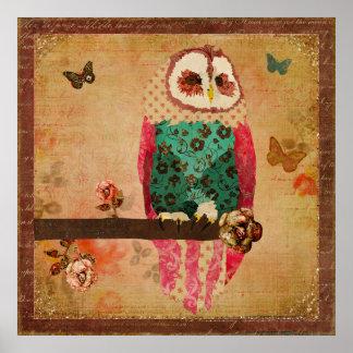 Poster vintage da coruja de Rosa