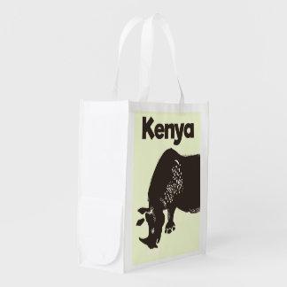 Poster vintage do africano do rinoceronte de Kenya Sacolas Ecológicas Para Supermercado