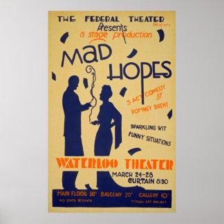 Poster vintage do desempenho da comédia