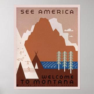 Poster vintage do viagem de Montana, América