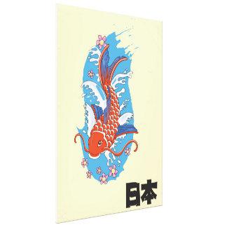 Poster vintage dos peixes de Japão Koi Impressão Em Canvas