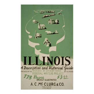 Poster vintage histórico do guia de Illinois