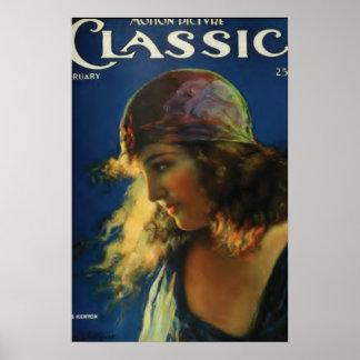 Poster vintage silencioso da estrela de cinema de