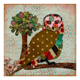 Poster vintage sonhador do dia da coruja