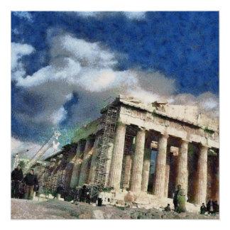 Póster Visitantes à acrópole em Atenas