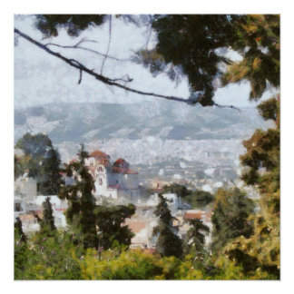 Póster Vista de Atenas do alto de