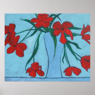 Poster Wilting das belas artes das tulipas