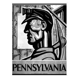 Poster WPA 1938 de carvão de Pensilvânia Cartão Postal