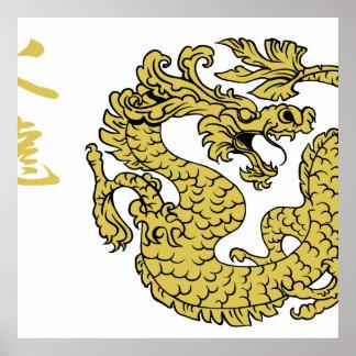 Posters do dragão 2,0 do fogo do ouro