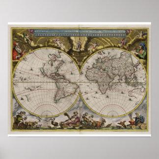 Posters do mapa do mundo do vintage 1664) (