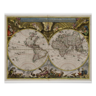 Posters do mapa do mundo do vintage 1664) ( pôster