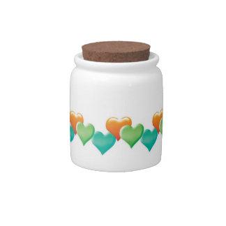 Pote de doces bonito dos corações jarros de doces