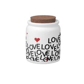 Pote de doces do amor do dia dos namorados
